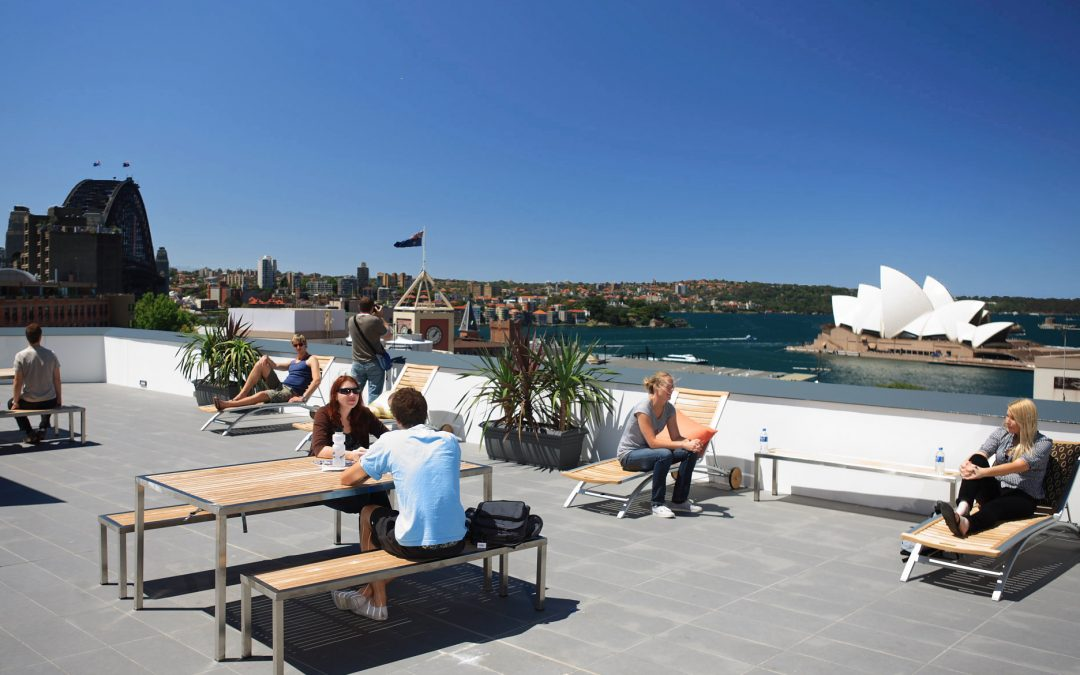 View over Sydney Harbour from the balcony at YHA in The Rocks.