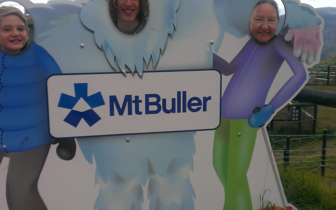 Yeti Image with face holes for people to have their photo taken with at Mount Buller.