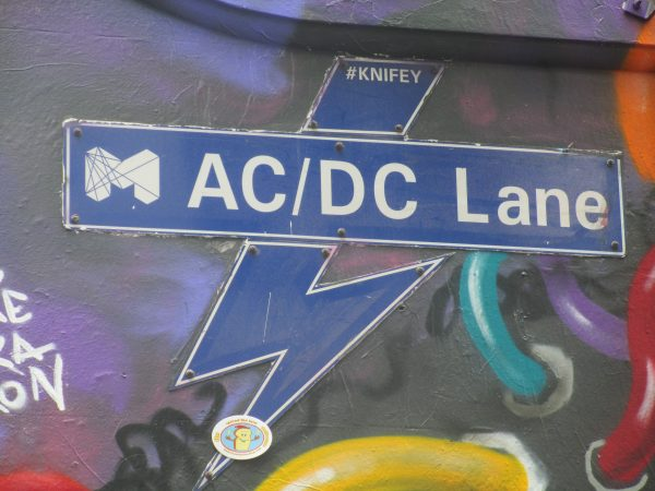 AC/DC Lane sign in Melbourne where you find street art. Blue sign with AC/DC Lane written in white.