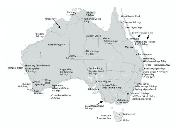 Australian map showing popular places to visit when travelling Australia.