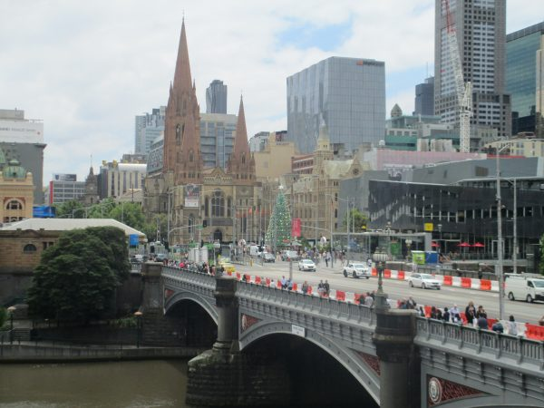 Federation Square with a Christmas Tree from across the Yarra River, Melbourne.