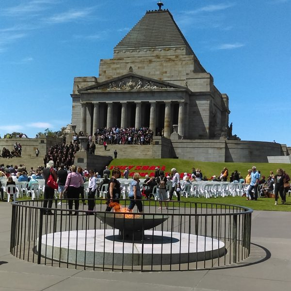 The Flame in front of the Shrine of Remembrance, Melbourne just after a war remembrance ceremony.