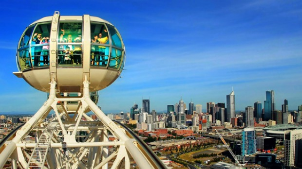 Melbourne Star, Melbourne. A large Ferris wheel with bubbles that take you for great views of Melbourne.
