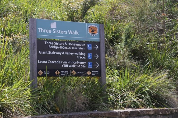 Sign At Three Sisters Showing The Walks.