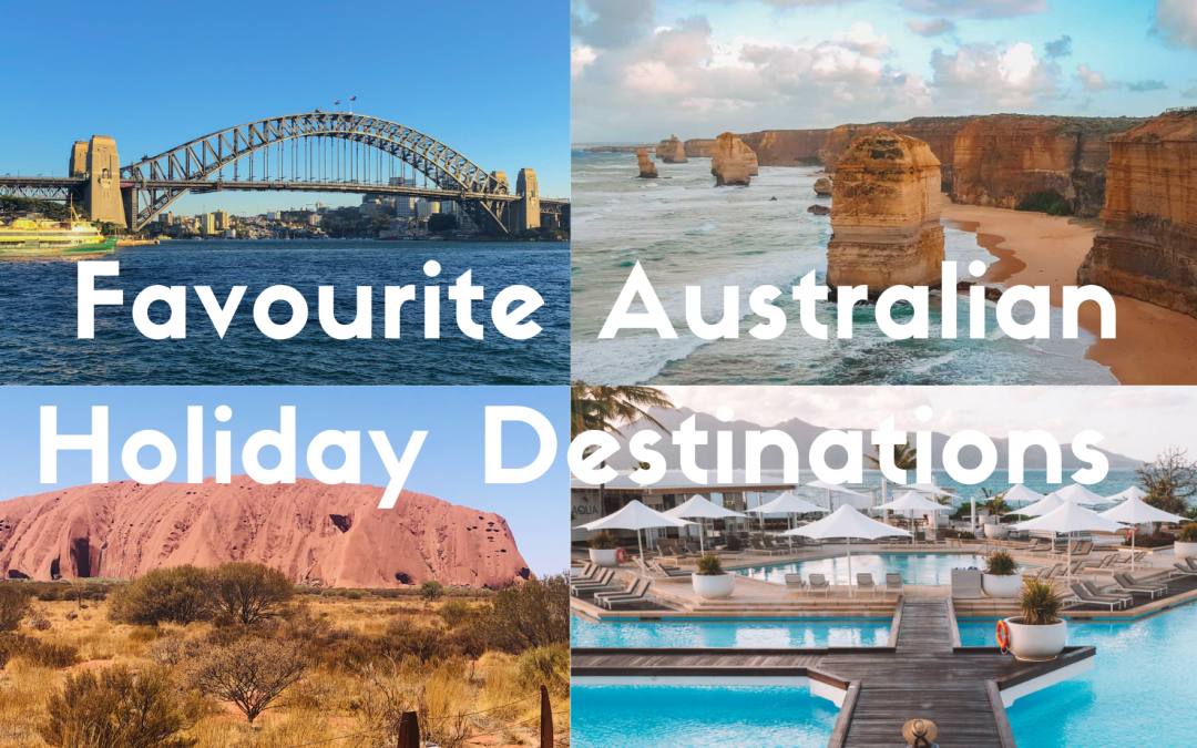 Collage Of Favourite Australian Holiday Destinations, Sydney Harbour, Great Ocean Road 12 Apostels, Ayers Rock or Uluru and Hayman Island.