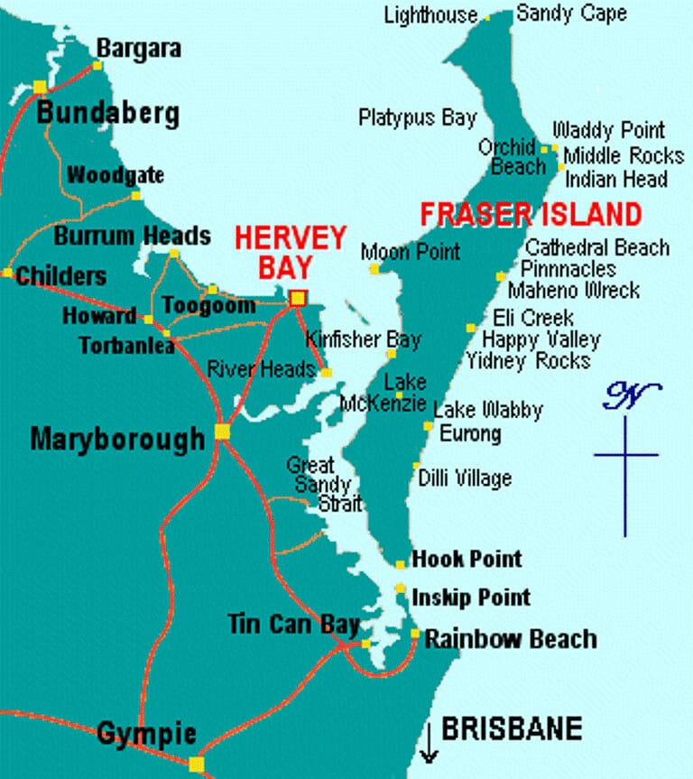 Map of Hervey Bay and Fraser Island so you can organise a trip.