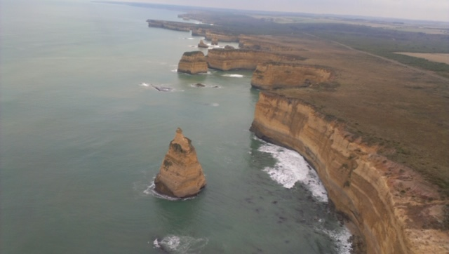 Great Ocean Road From The Air In A Helicopter. Magnificent Views Over Ocean And Coastline.