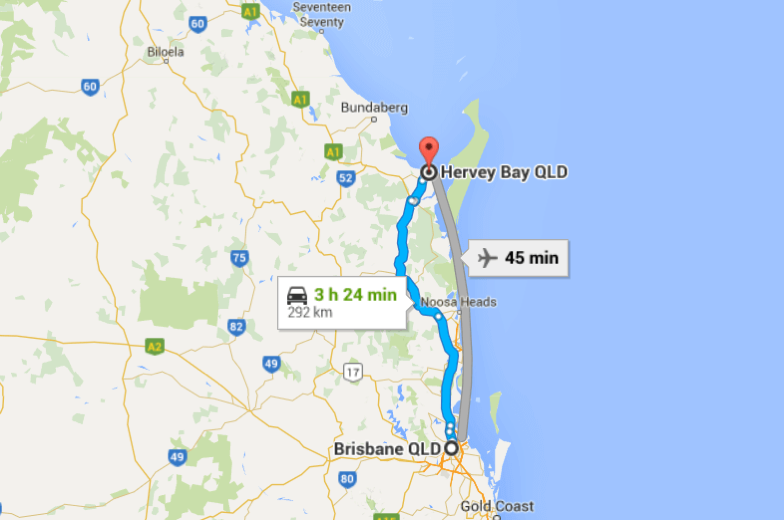 Map showing where Hervey Bay is in relation to Brisbane so you can organise your trip to Whale Watch in Hervey Bay.