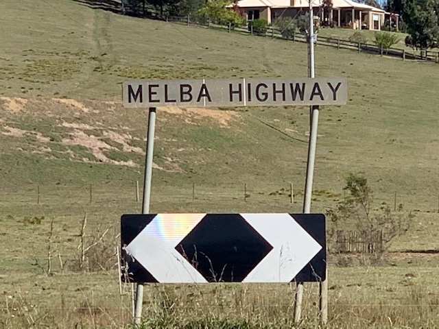 Melba Highway Sign Is A Black And White Sign Found Along The Melba Highway.