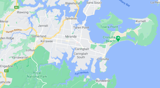 Map Showing Where Miranda is Located In The Sutherland Shire