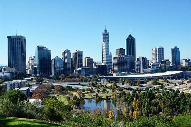 Perth City View Of Tall Buildings From Kings Park.