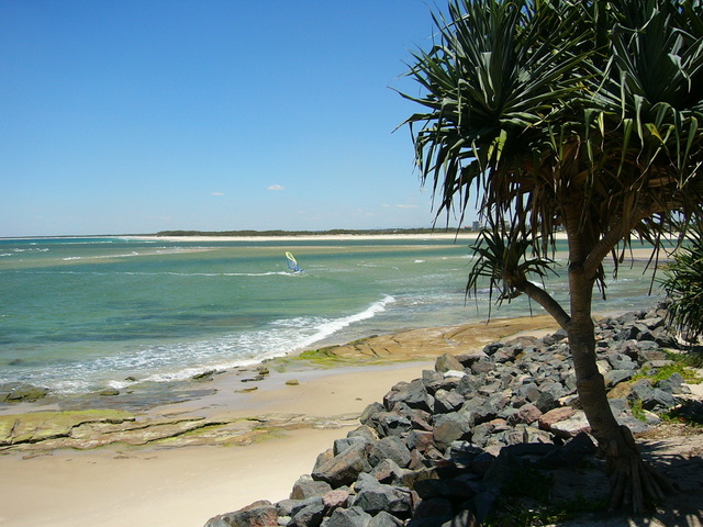 Caloundra Beach White Sand Blue Sky and Clear Water