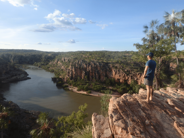 Kathryn Gorge In The NT Is Spectacular. A Massive Gorge With Cliff Faces With Green Vegetation And A River Running Through The Gorge.