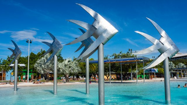 Cairns Esplanade and Lagoon With Big Silver Fish