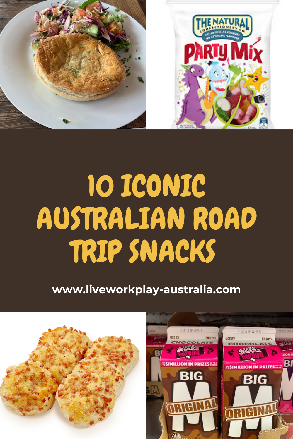 Pinterest Pin. Iconic Australian Road Trip Food. Cheese and Bacon Rolls. Chocolate Milk. Pie. Party Mix.