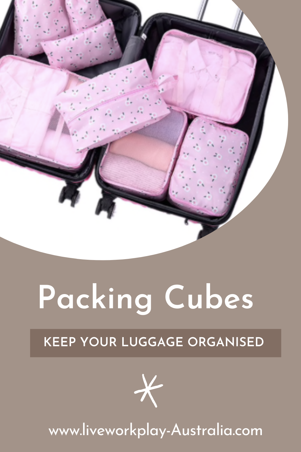 Pink Packing Cubes Inside A Suitcase. Packing Cubes Are Keeping The Items Organised.