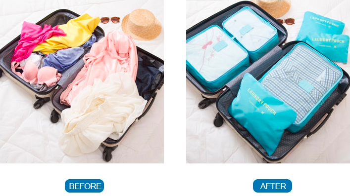Two Open Suitcases. One With Clothes Everywhere And The Other Is Using Packing Cubes Making Everything Neat, Tidy And Organised.