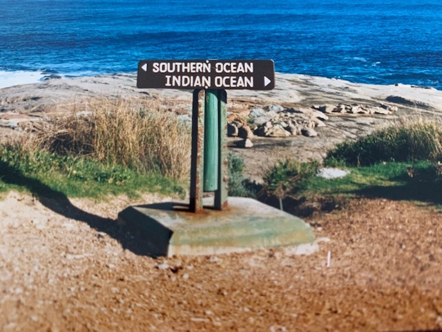 Cape Leeuwin Sign Where The Southern Ocean Meets the Indian Ocean.