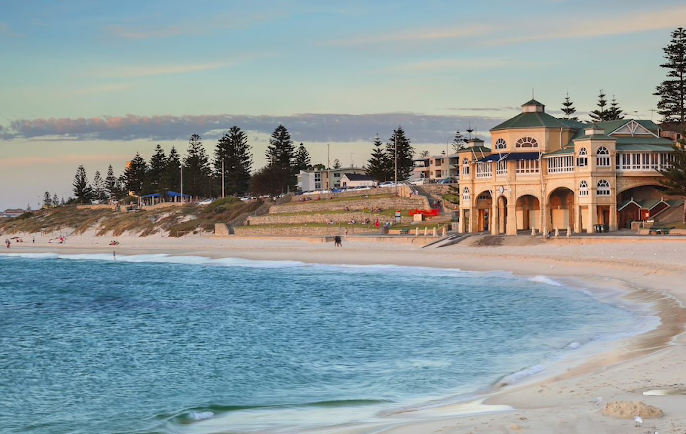 Perth's Cottlesloe Beach Is One Of Perth's Best Beaches With White Sand, Blue Ocean and A Large Old Surf Club.