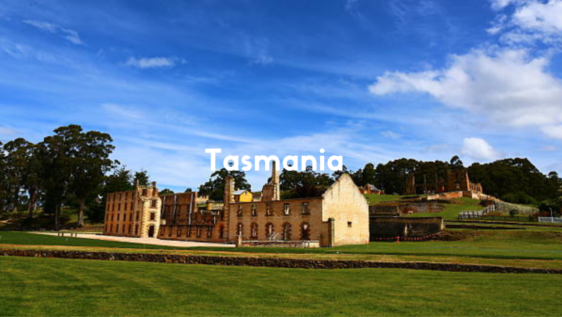 Port Arthur In Tasmania Is An Old Penal Colony. With Golden Sandstone Buildings.