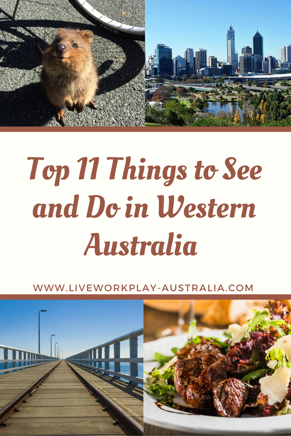 Pin Showing What To See And Do In Western Australia Like Seeing Quokka, the Busselton Jetty and Eating Fine Food At Margaret River.