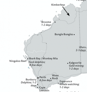 Map Of Western Australia Showing Places To Visit.