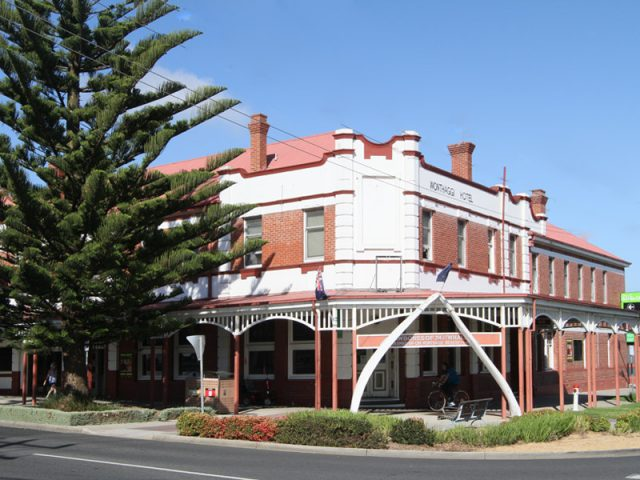 Wonthaggi Hotel Is A Heritage Listed Site Due To Its Federation Appearance. Plus There Is Whale Jaw Bones At The Entrance.