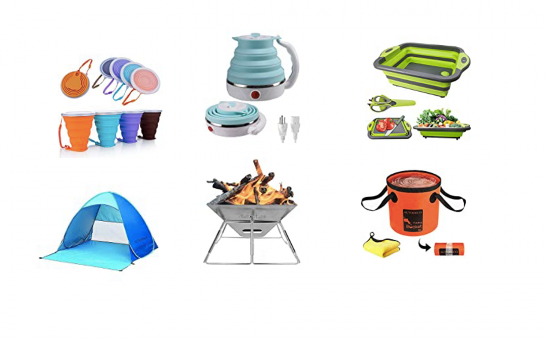 Collapsable Travel Gear. Fire Pit, Ten, Cups And Saucers, Washing Basin.