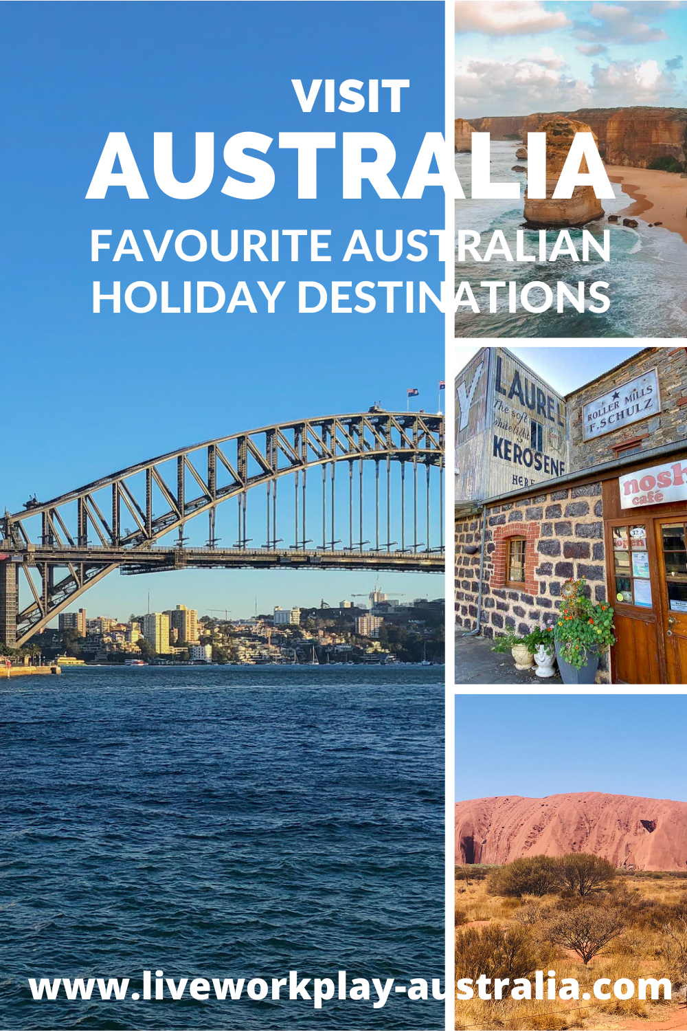 Australia Holiday Pin, Sydney Harbour, Ayers Rock Uluru, Great Ocean Road and Barossa Valley.