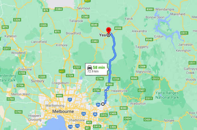 Melba Highway Map. Melba Highway Is A Small Highway East Of Melbourne, Running From Lilydale To Yea.