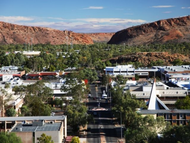 Alice Springs Is Best Seen From ANZAC Hill. The View Overlooks Alice Springs With The MacDonnell Ranges.