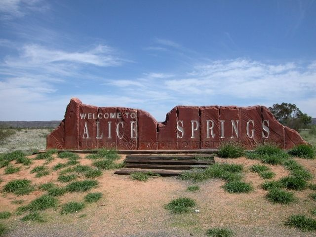 Alice Springs Sign Welcoming You To Alice Springs.