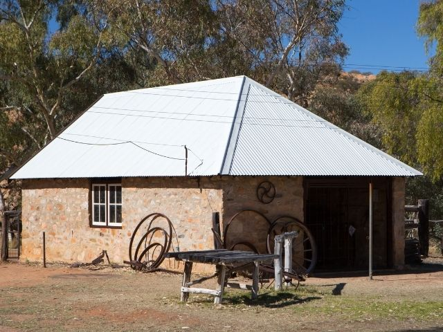 The Old Telegraph Station In Alice Springs Is A Small Building Made Of Stone.